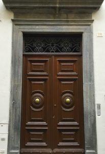 Brown paneled door in Orvieto