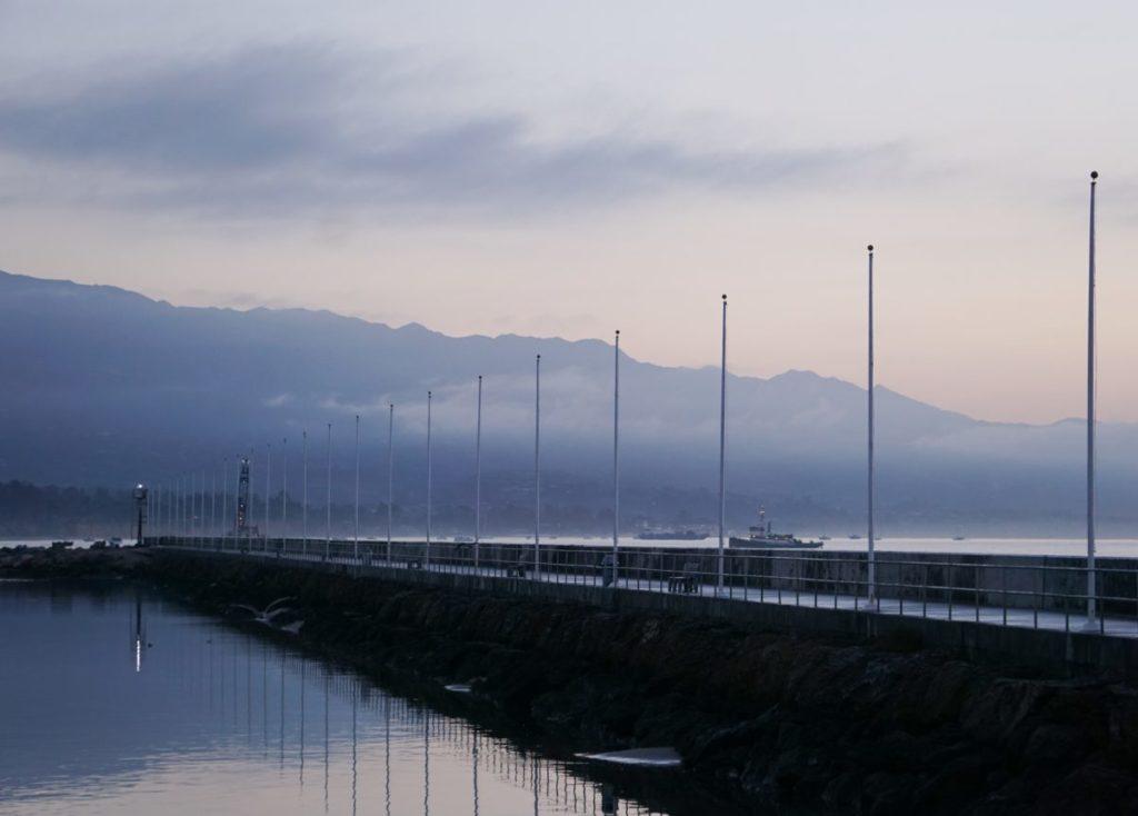Santa Barbara Harbor Flagpole Reflections