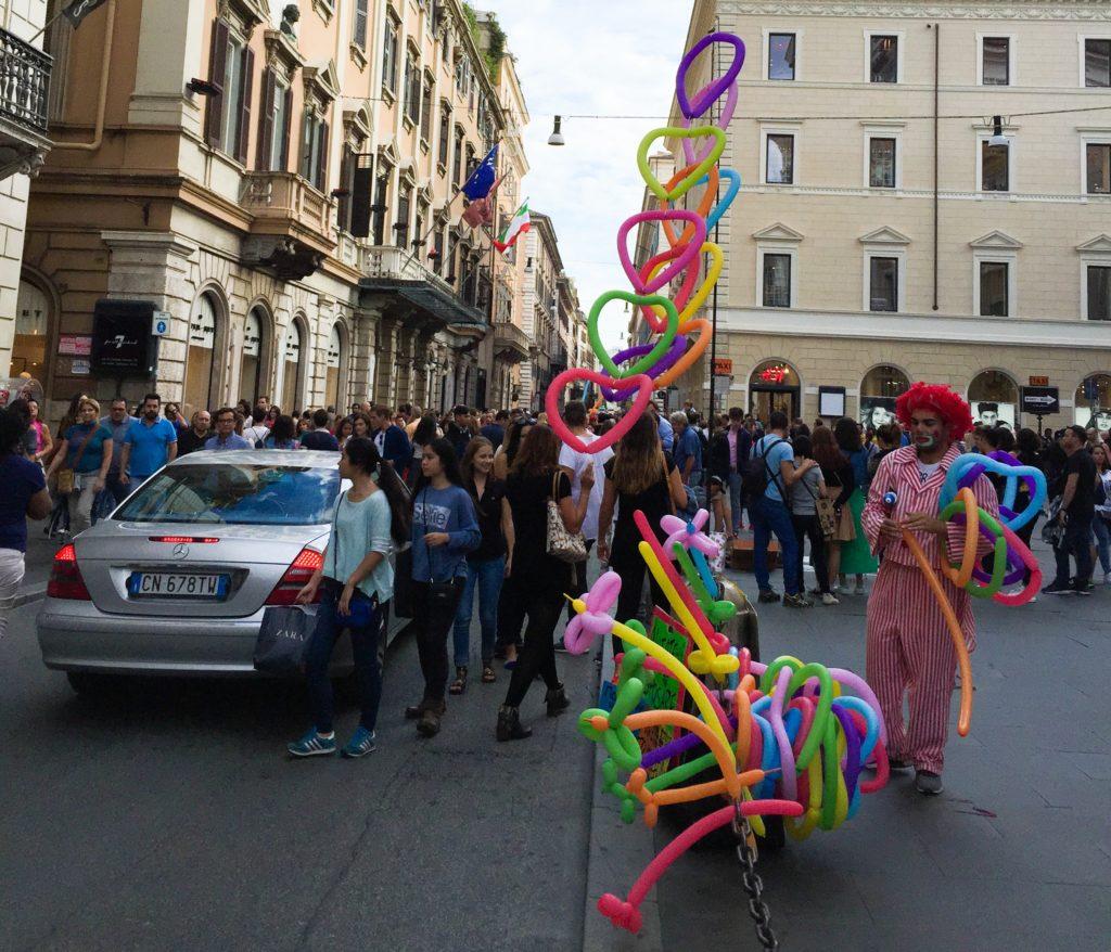 Evening Strollers and Vendors Via dei Corso Rome