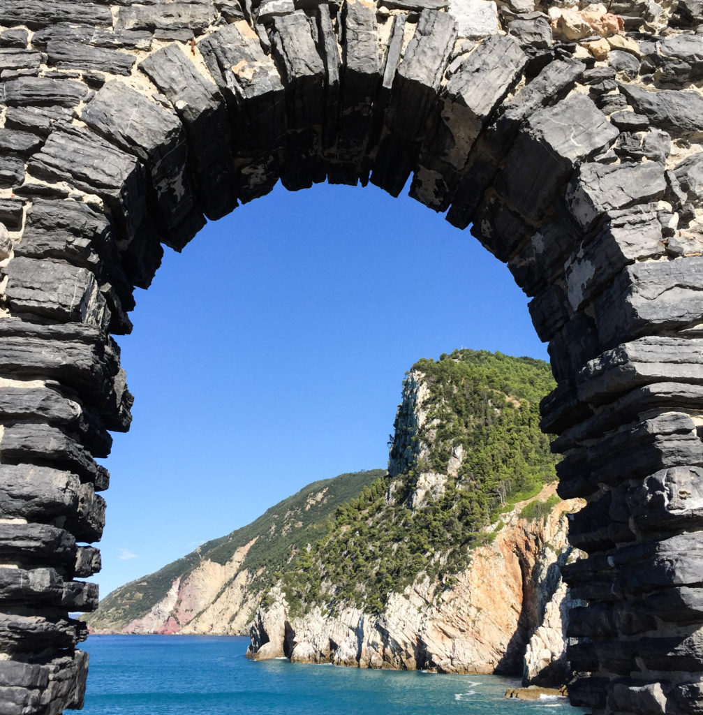 Stone arch window at the Chiesa di San Pietro in Portovenere