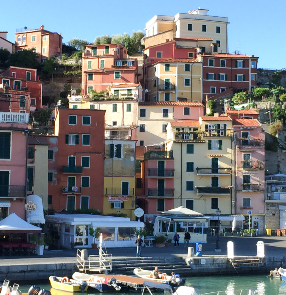 The pretty pastel houses on Lerici