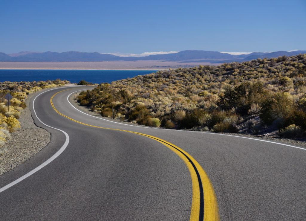 Road going down to the South Tufa Area at Mono Lake