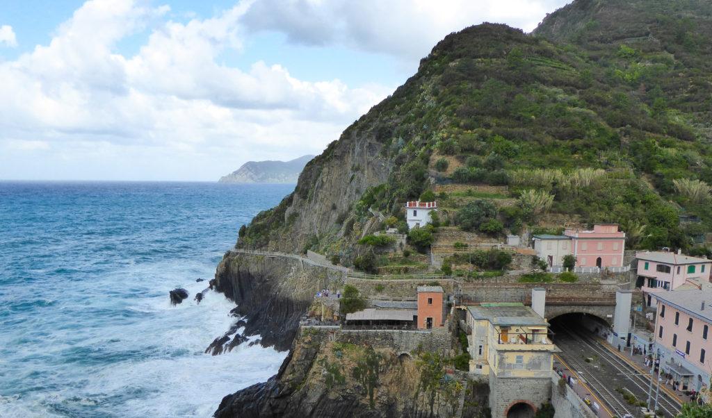 A view of the train tunnel at Riomaggiore in the Cinque Terre, Italy
