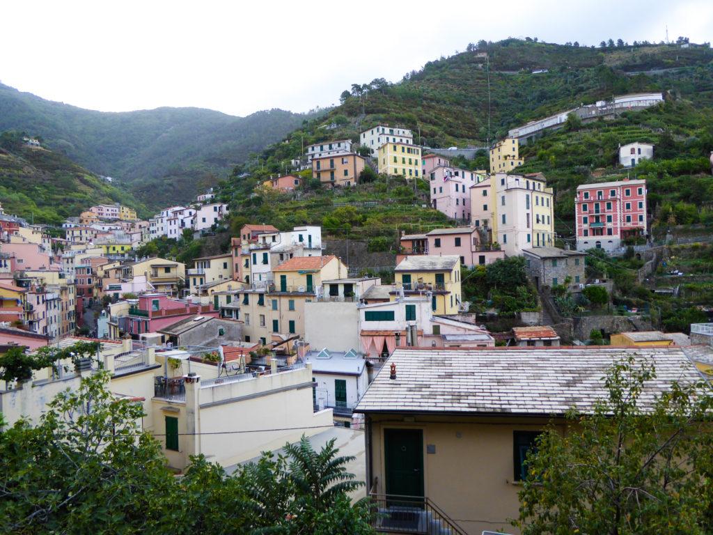 The upper section of Riomaggiore in the Cinque Terre in Italy