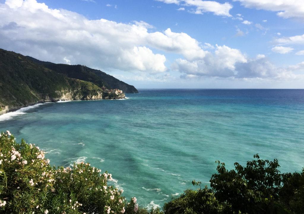 View of the Ligurian Sea from Corniglia Cinque Terre Italy