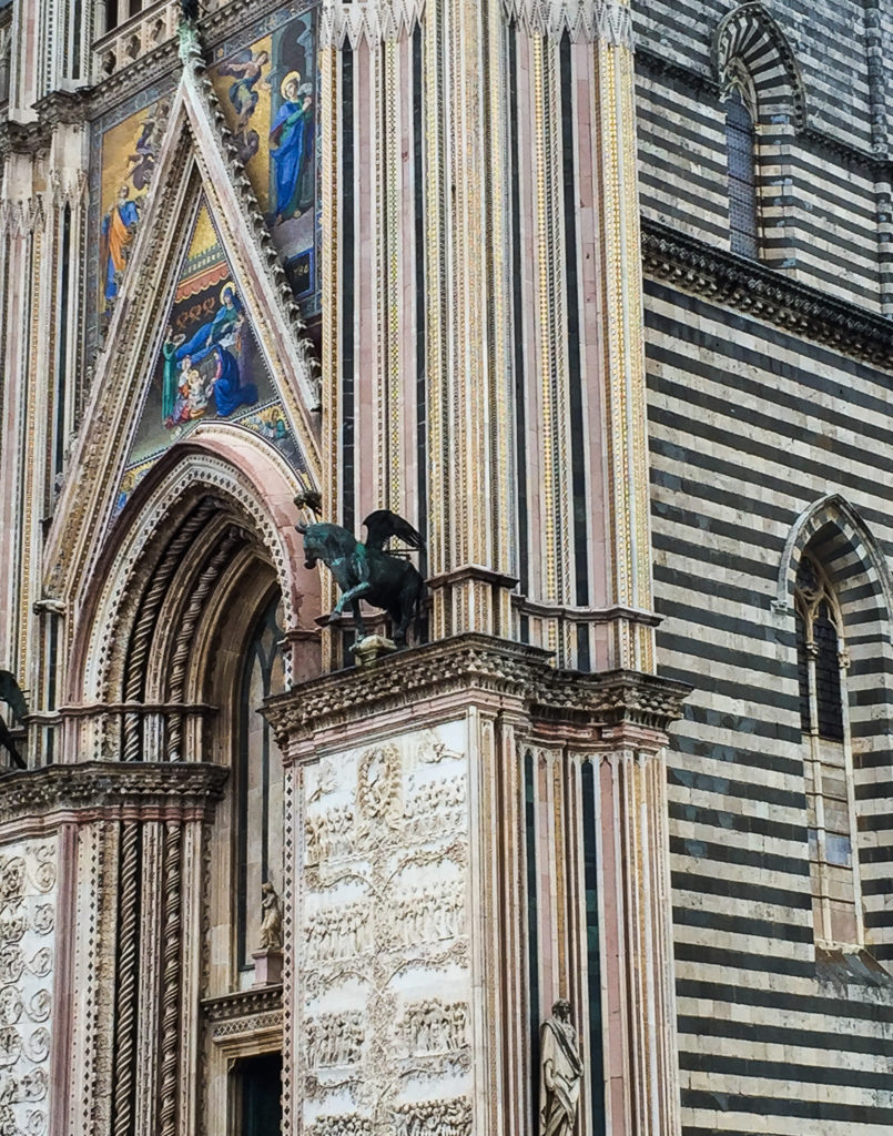 Part of the facade of the Duomo di Orvieto in Italy
