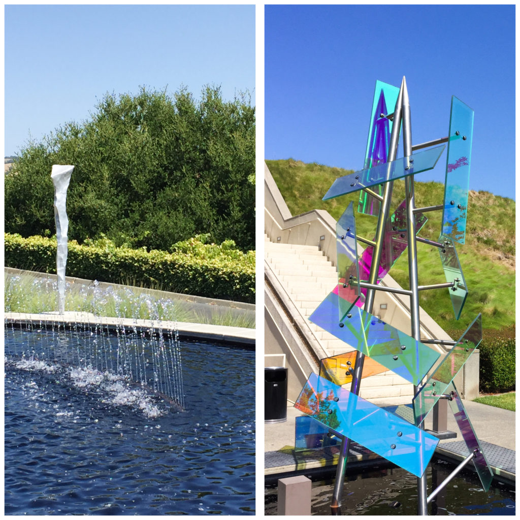 Water features and sculptures at Artesa Winery in the Napa Valley in California