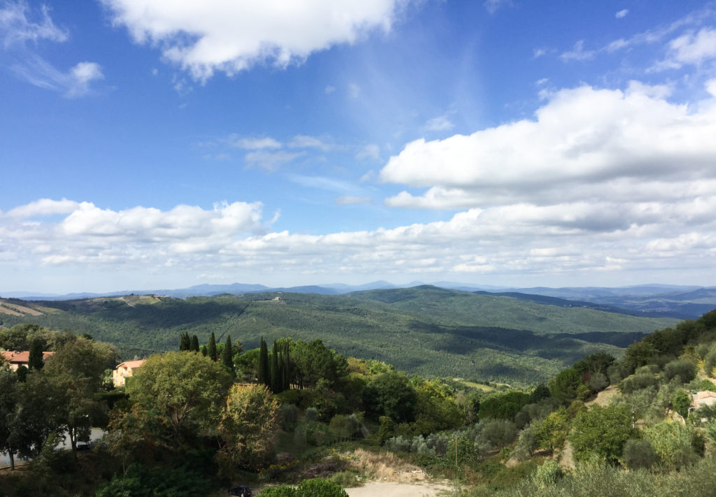 View of Tuscan countryside from Montalcino Tuscany Italy