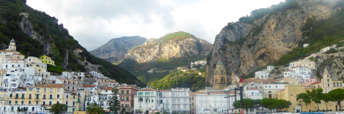 A panoramic view of Amalfi Town