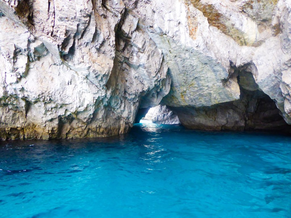 Textured rock surfaces seen from our boat in Capri Italy