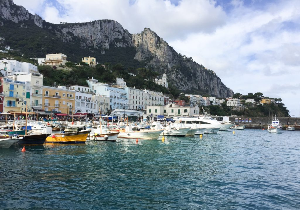 Your one day in Capri starts at the Marina Grande, Capri's colorful harbor.