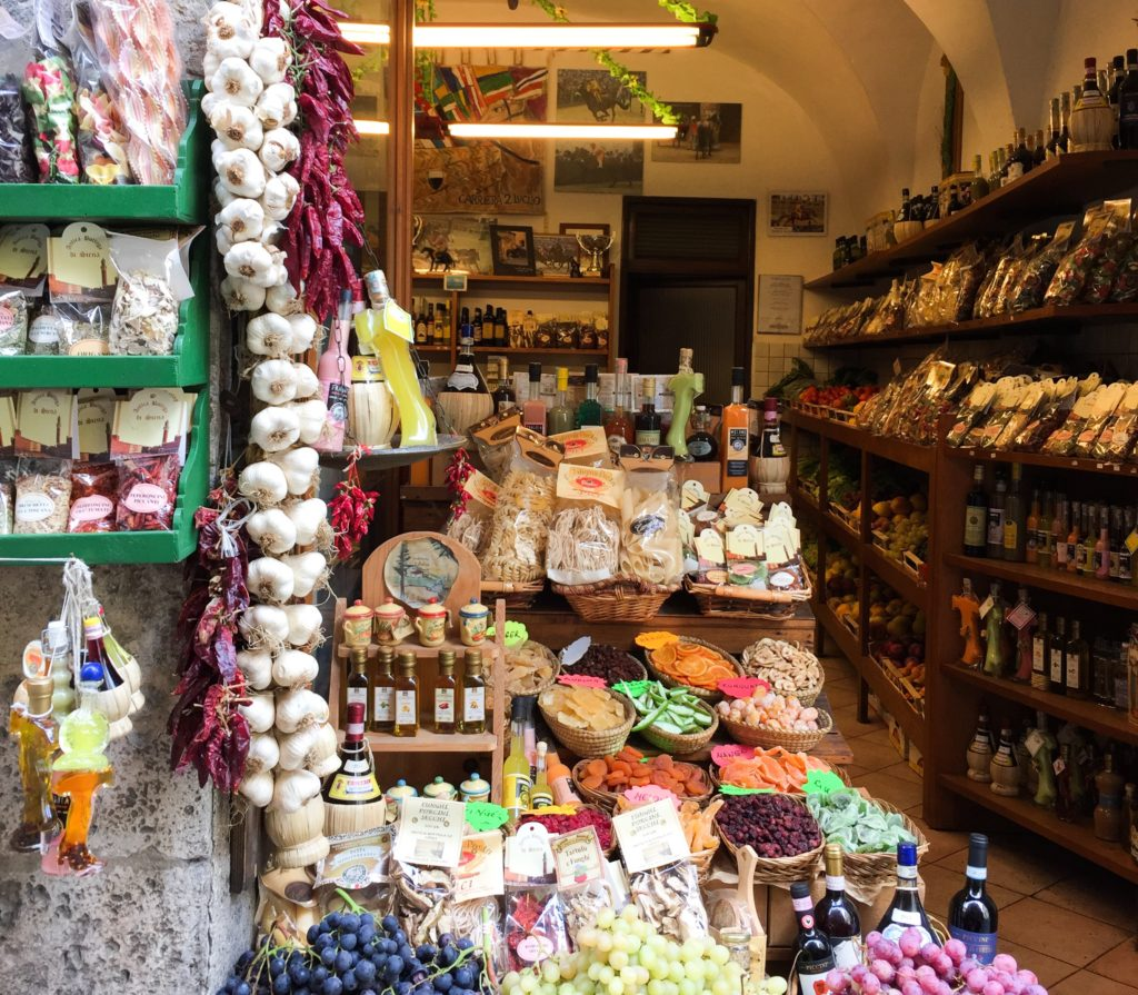 A little shop on a street in Siena Italy