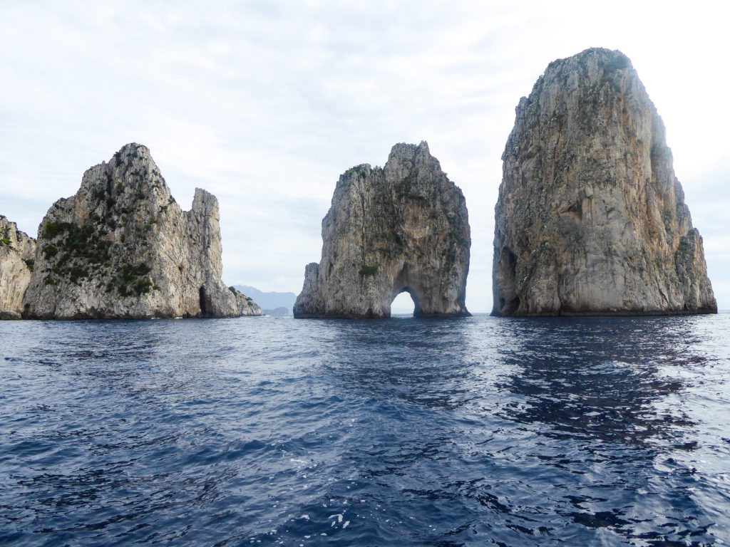 A view of the Faraglioni from the boat Capri Italy