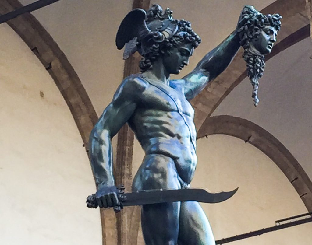 Cellini's beautiful sculpture of Perseus holding aloft the severed head of Medusa stands in the Piazza della Signoria in Florence.