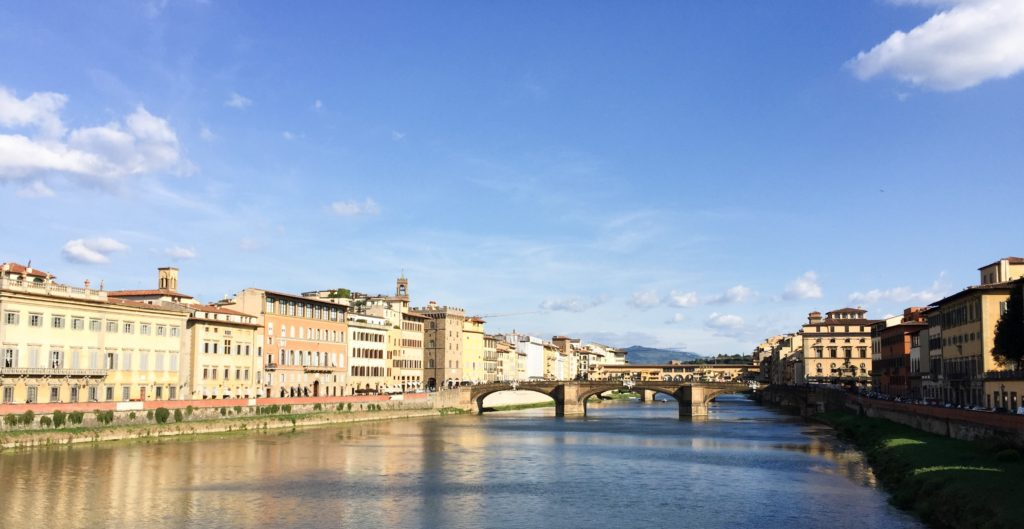 One of the many bridges over the River Arno in Florence, Italy
