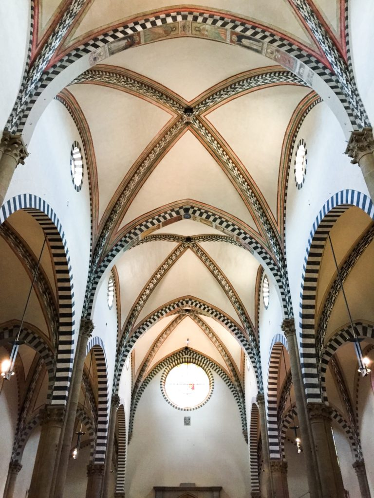 Interior of the Basilica di Santa Maria Novella in Florence, Italy