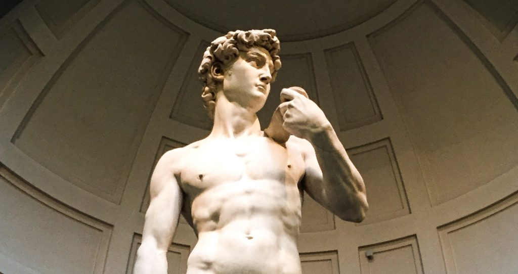 The original David by Michelangelo is in the Accademia in Florence. It is definitely a must-see on your first visit to Florence!