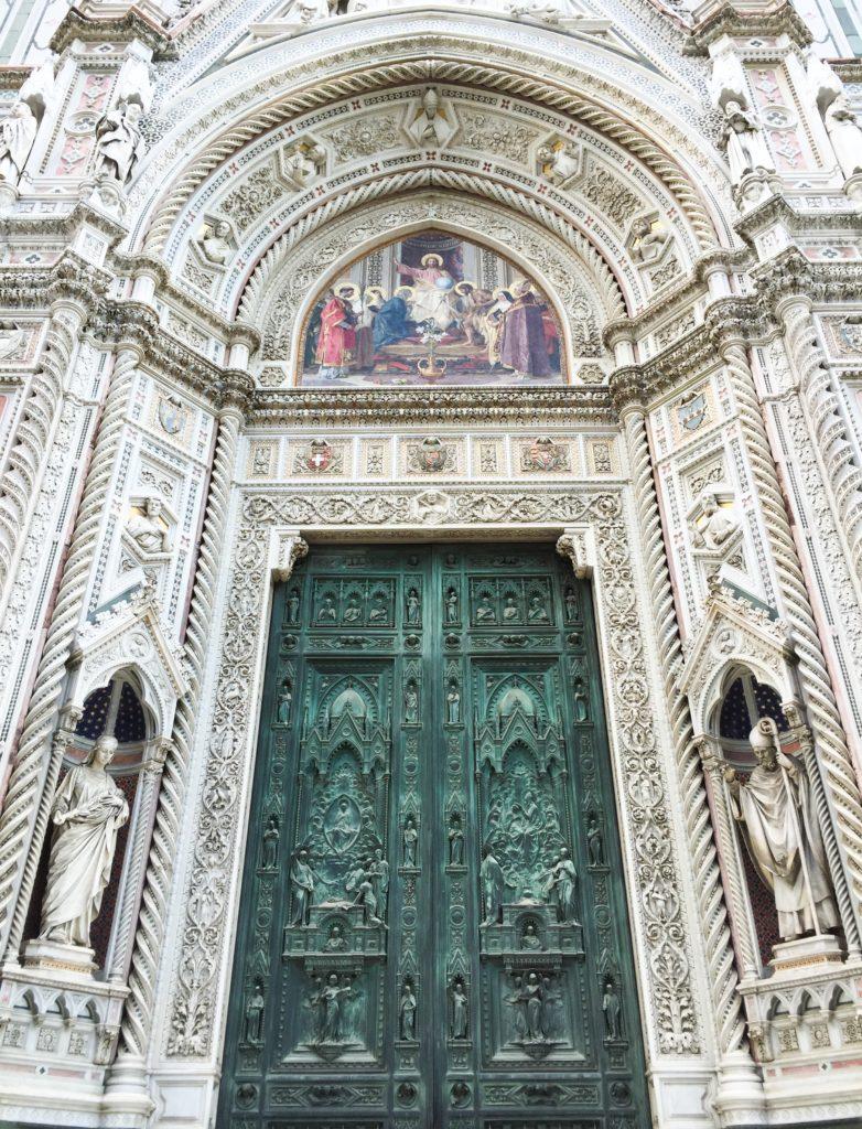 The green doors to the Duomo di Firenze