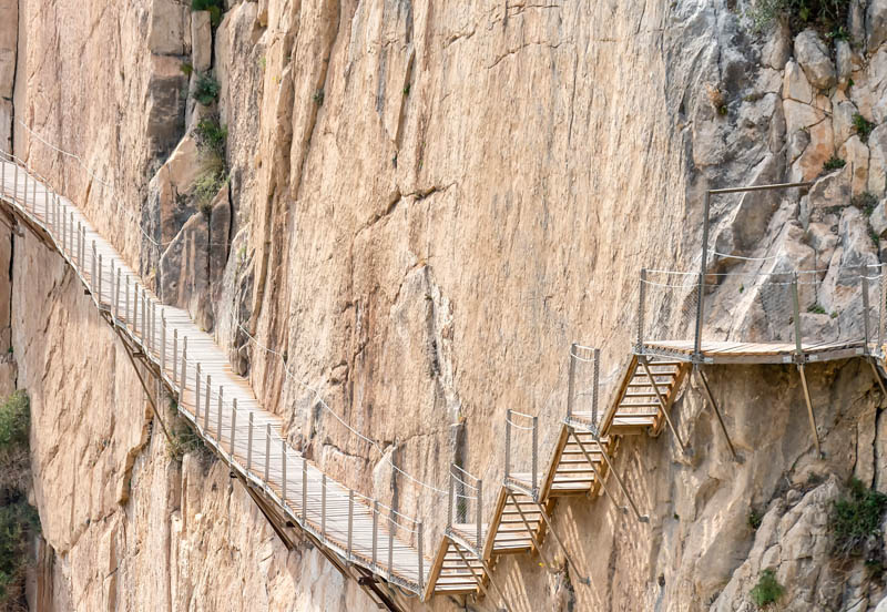 The  boardwalk at El Caminito del Rey clings to the cliff
