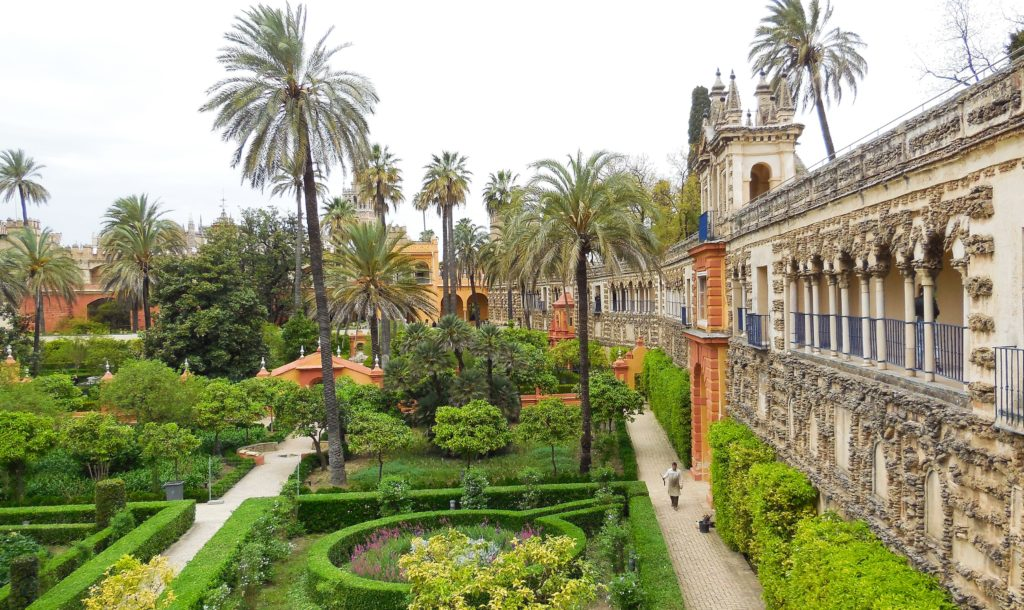 Formal hedges in the gardens of the Alcazar in Seville Spain