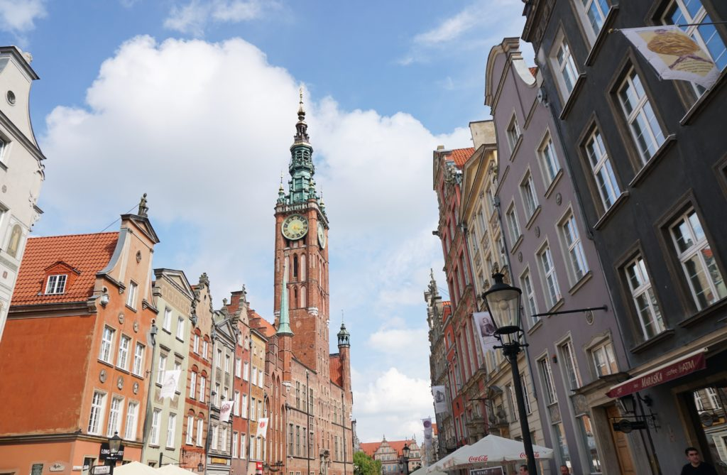 The spire of the Town Hall in Old Town Gdansk, Poland