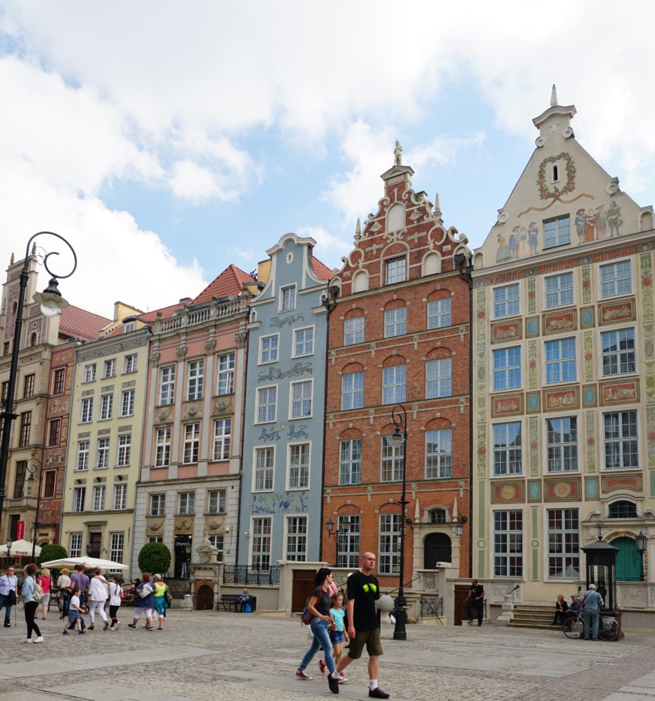 Facades at Dlugi Targ Old Town Gdansk Poland
