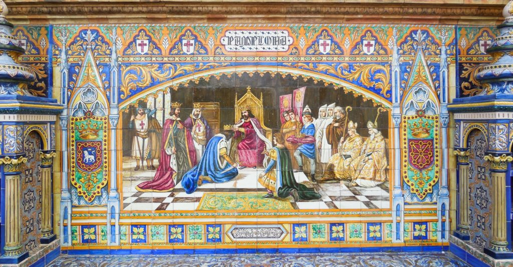 Tiled displays at the Plaza de Espana in Seville Spain