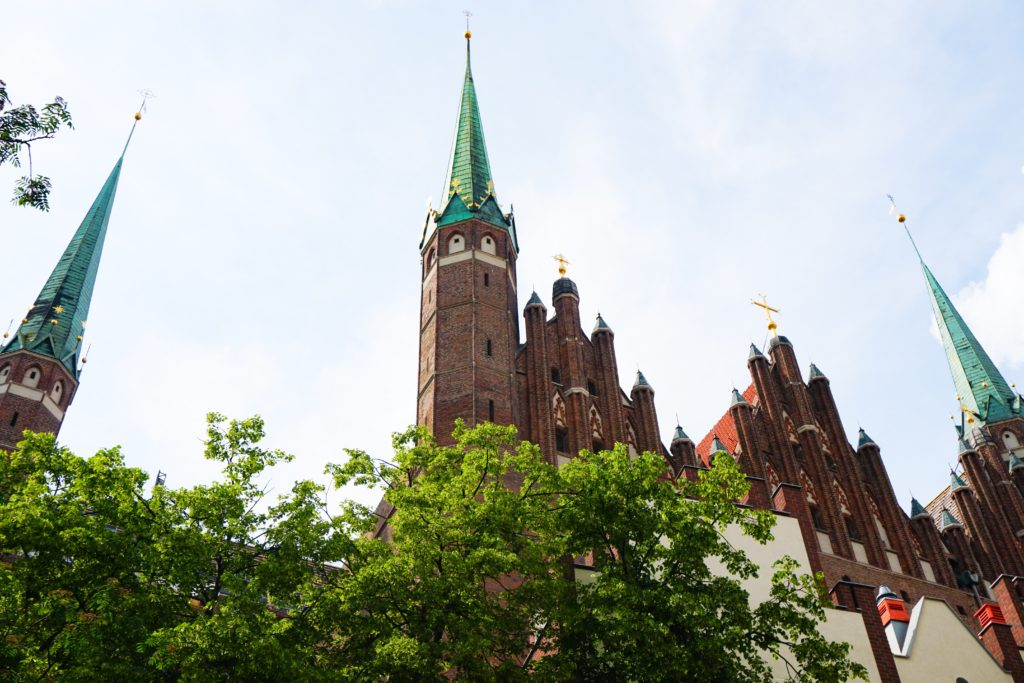 The spires of St. Mary's Church in Old Town Gdansk Poland