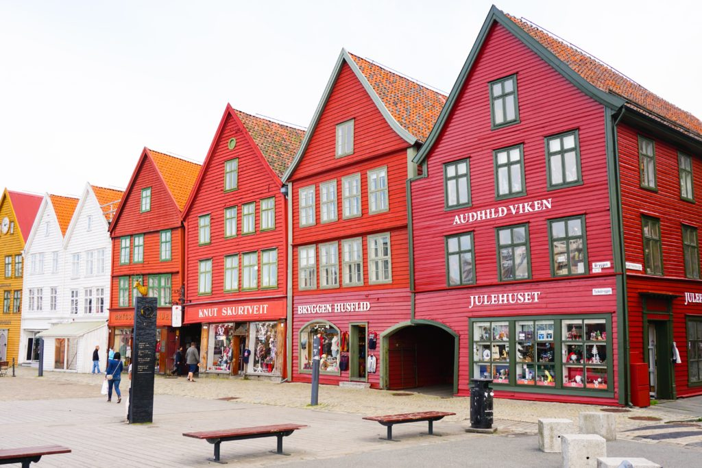 The red buildings of Bryggen in Bergen Norway