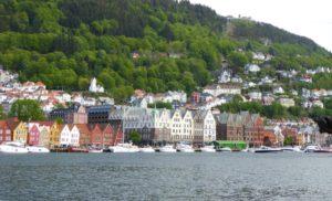 A view of beautiful Bryggen in Bergen Norway