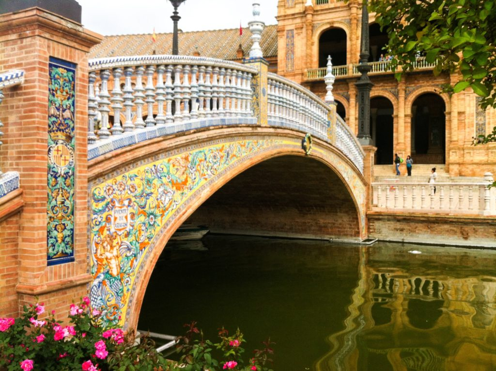Bridge over the moat at the Plaza of Spain in Seville