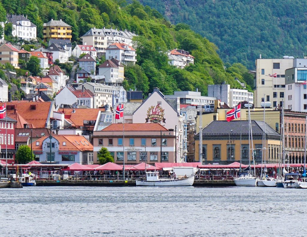 Bergen's famous Fisketorget, seen from the water