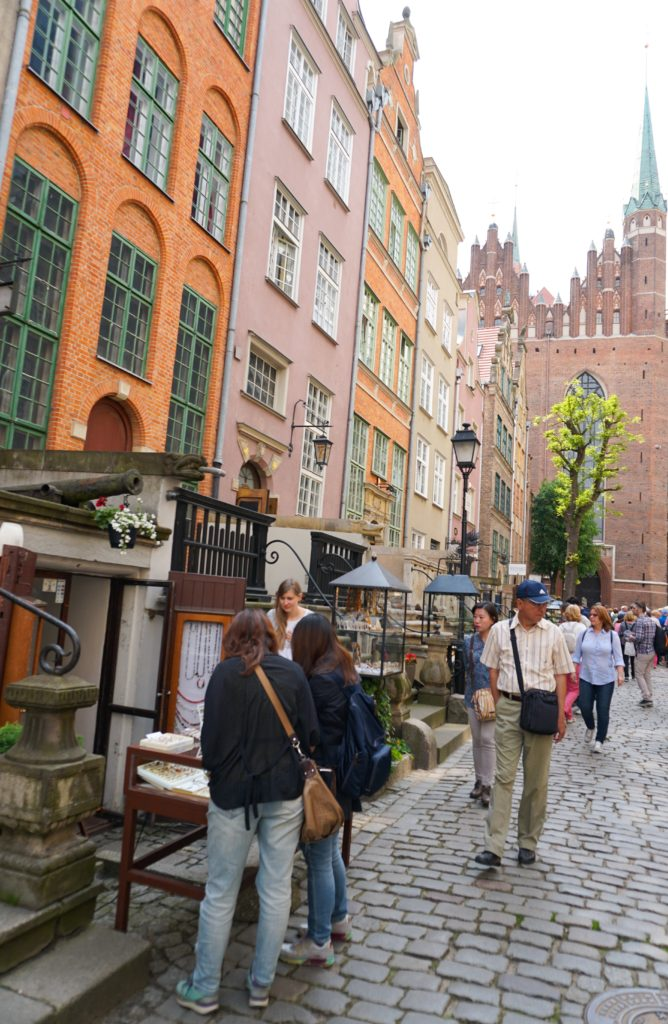 Shopping for amber on Mariacka Street in Gdansk Old Town Poland