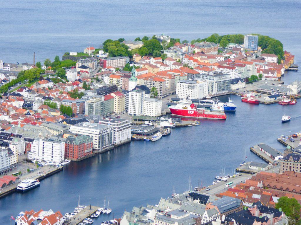 Zooming in on Bergen from Mt. Floyen