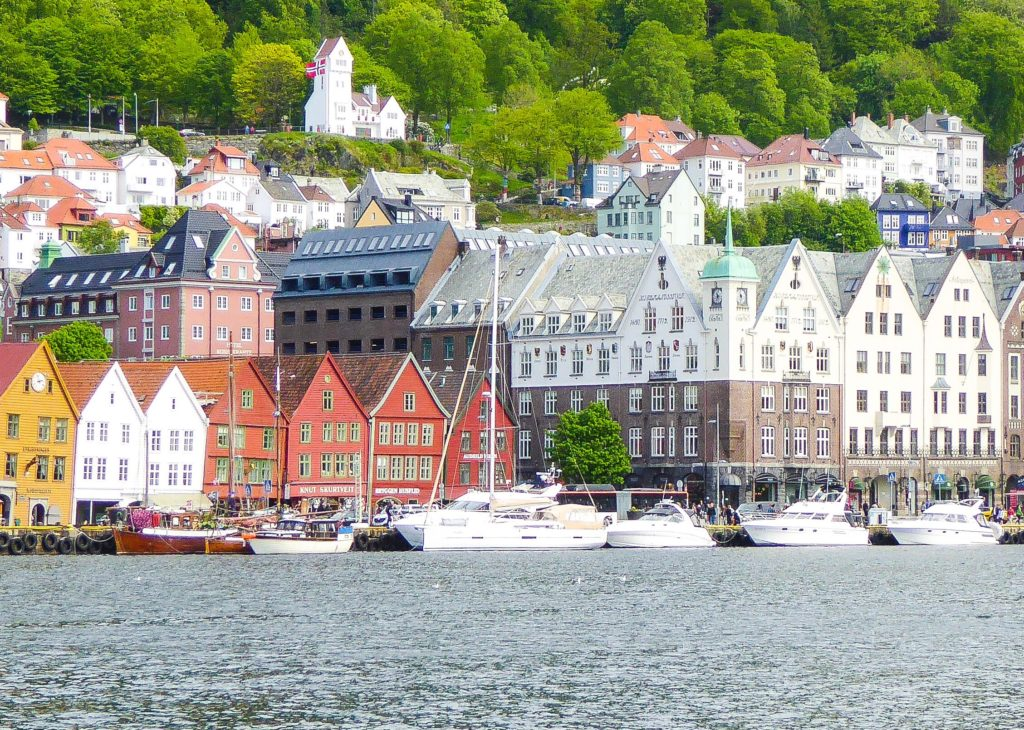 View of Bryggen from the opposite side of the harbor in Bergen Norway