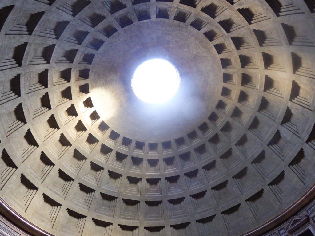 The oculus of the Pantheon in Rome Italy