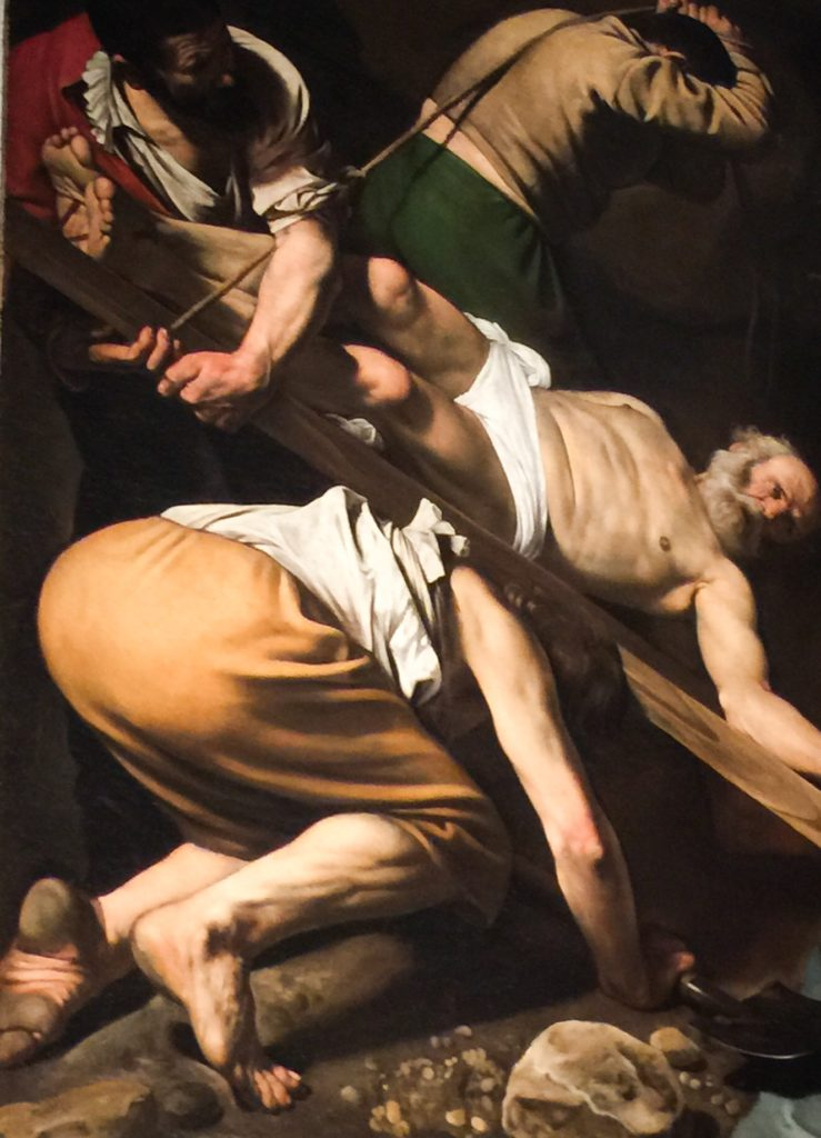 Crucifixion of St. Peter by Caravaggio Basilica di Santa Maria del Popolo in Rome Italy