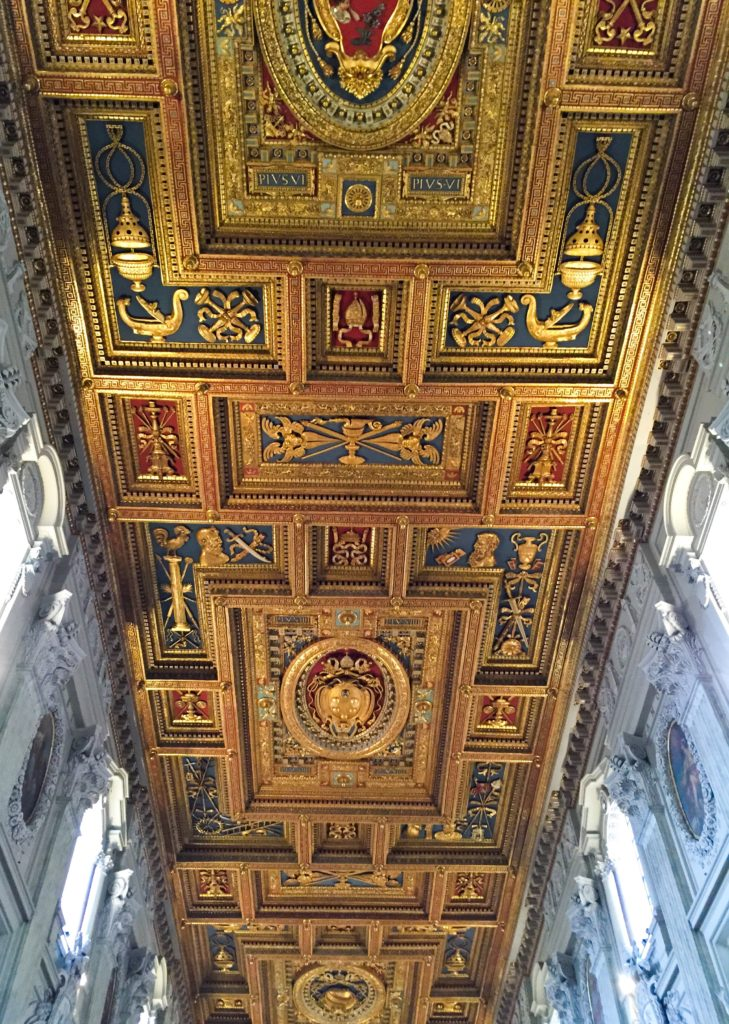 Gilded ceiling at the Arcibasilica di san Giovanni in Lateran, Rome, Italy
