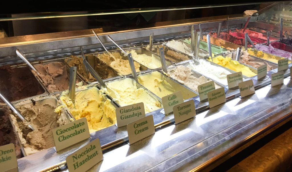 Gelato display at Giolitti in Rome Italy