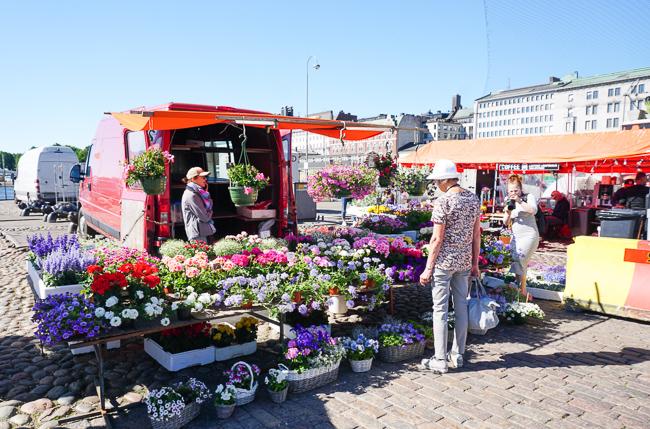 Flower Stall at Kauppatori Helsinki Finland