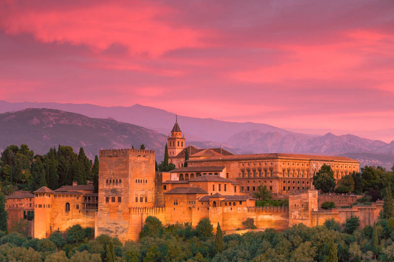 The Alhambra of Granada at Sunset