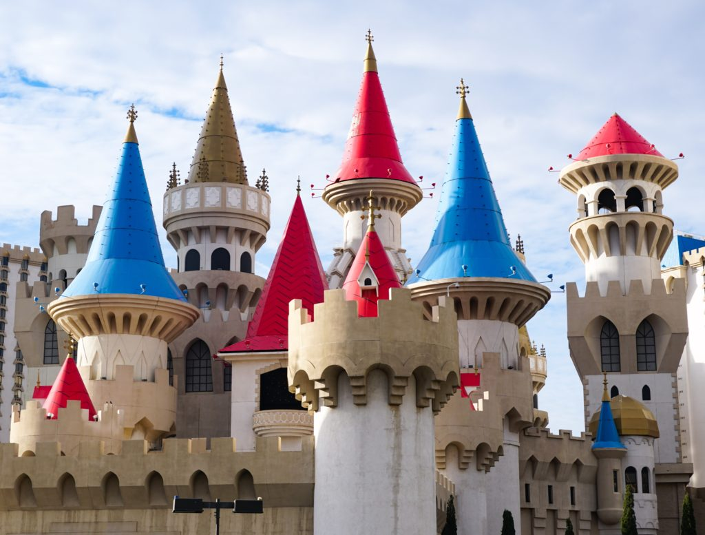 The castle turrets of the Excalibur on the Las Vegas Strip