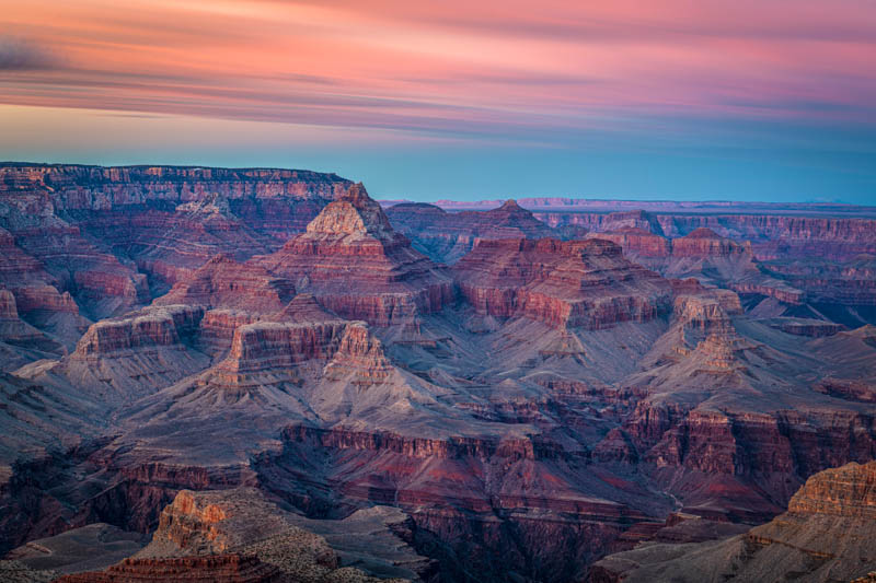 The Grand Canyon in Arizona, just after sunset