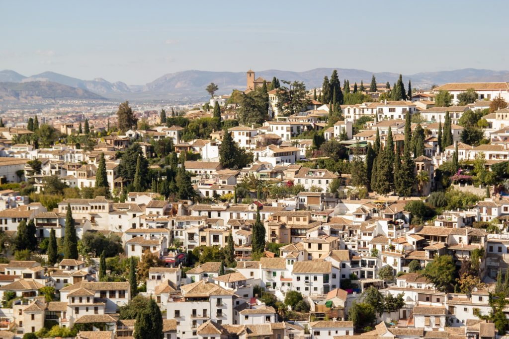 A view of the barrio de Albaicin from the Alhambra in Granada Spain