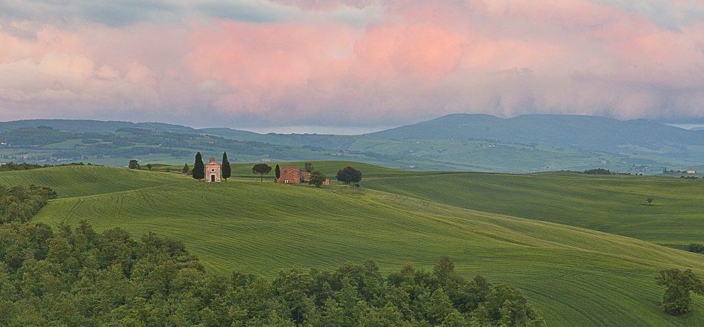 Capella della Madonna di Vitaleta in the Val d'Orcia Tuscany Italy