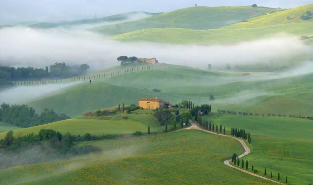 A drive through the Val d'Orcia will take you past the rolling hills of the Val d'Orcia in Tuscany, Italy