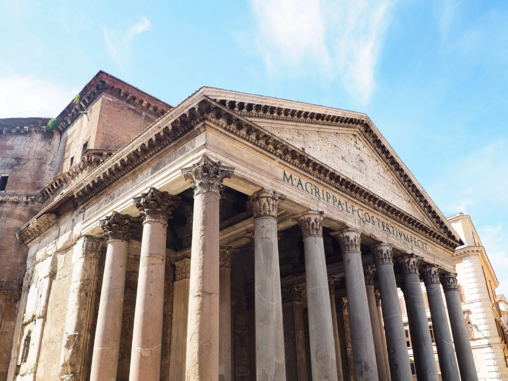 The Pantheon in the Historic Center of Rome Italy