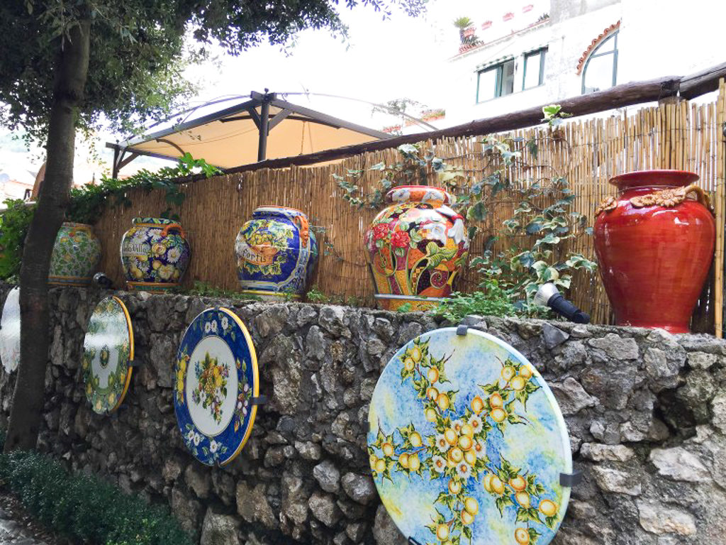Ceramics on a restaurant wall in Ravello on the Amalfi Coast of Italy