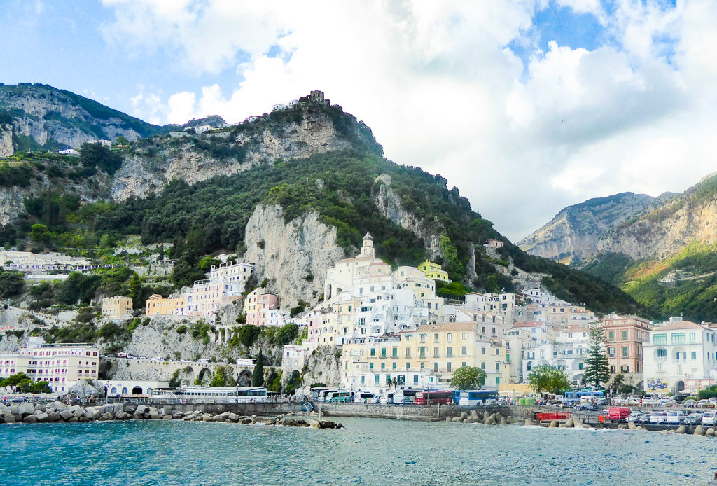 A view of Amalfi Town from the pier