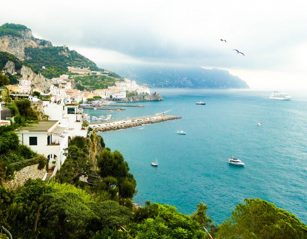 A view of the pier at Amalfi on the Amalfi Coast